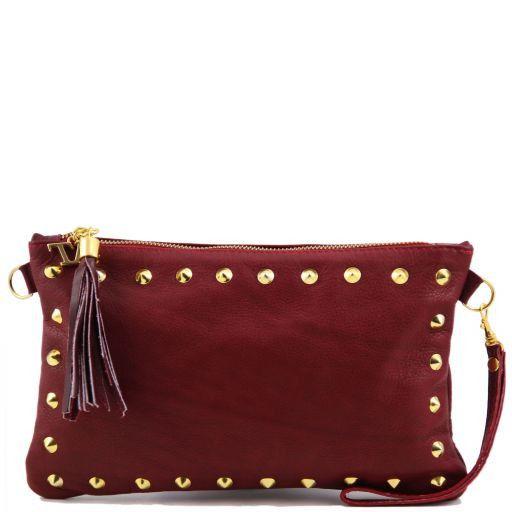 TL Rockbag Pochette in pelle con borchie Rosso TL141114
