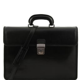 Parma Leather briefcase 2 compartments Black TL10018