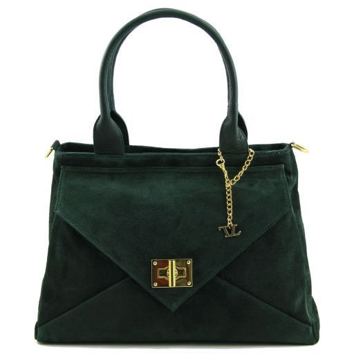 TL Classy Lady suede leather bag Forest Green TL141118