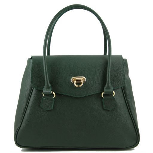 TL Bag Borsa donna in pelle stile bowling Verde scuro TL141120