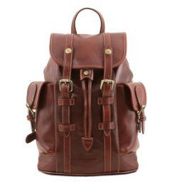 Nara Leather Backpack with side pockets Brown TL141661