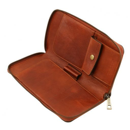 Exclusive leather travel document case Honey TL141663