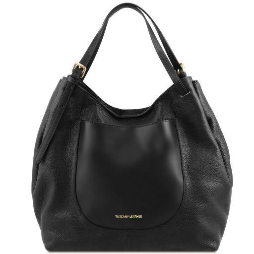 Cinzia Soft leather shopping bag Black TL141515