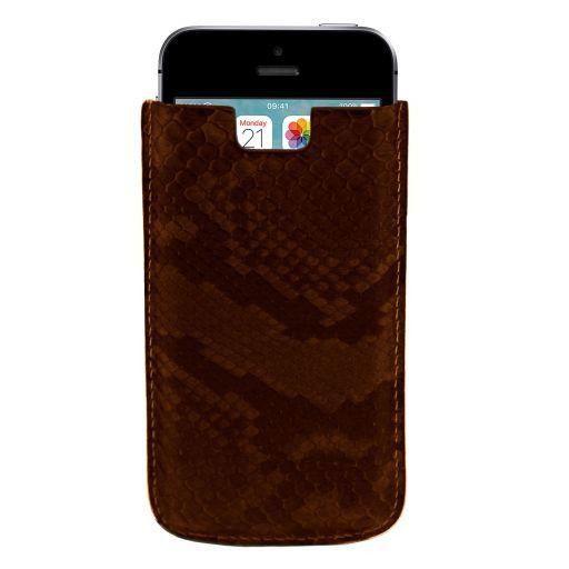 Эксклюзивный чехол для iPhone SE/5s/5 из кожи питона Темно-коричневый TL141130
