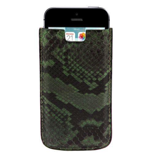Esclusivo porta iPhone SE/5s/5 in vero pitone Verde Foresta TL141130