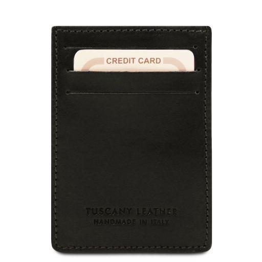 Esclusivo portacarte di credito in pelle verticale Nero TL140806