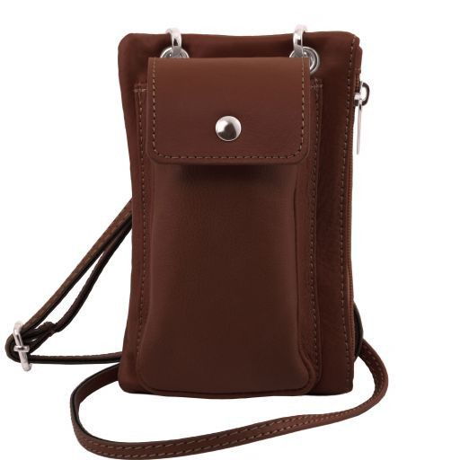 TL Bag Soft Leather cellphone holder mini cross bag Brown TL141423