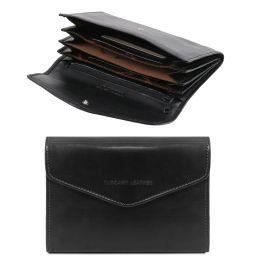 Elégant portefeuille en cuir pour femme avec poches soufflets Noir TL140786