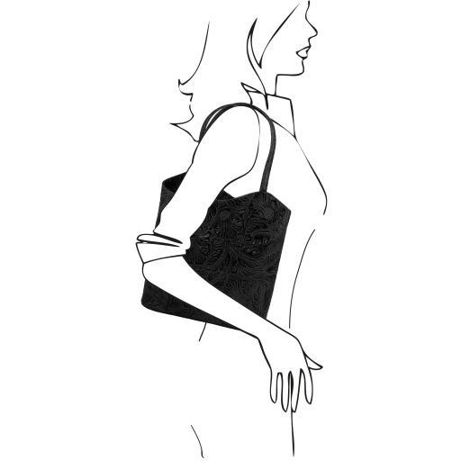 Patty Borsa donna convertibile a zaino in pelle stampa floreale Nero TL141676