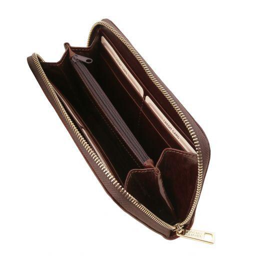 Exklusive Damenbrieftasche aus Leder Dunkelbraun TL141206
