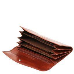 Esclusivo portafogli in pelle da donna con soffietti Marrone TL140786