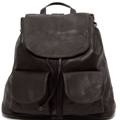 Seoul Leather backpack Large size Dark Brown TL90142