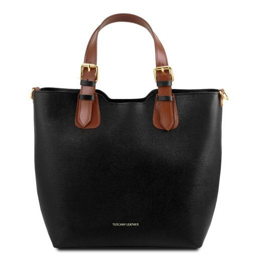 TL Bag Saffiano leather tote Black TL141696