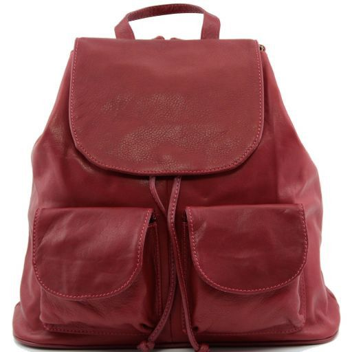 Seoul Leather backpack Large size Red TL90142
