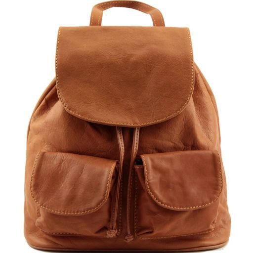 Seoul Leather backpack Small size Cognac TL90143