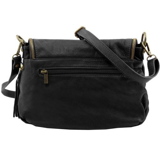 TL Bag Soft leather shoulder bag with tassel detail Black TL141223
