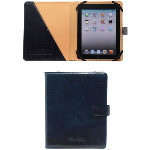 Porta iPad in pelle con bottone Blu TL141170