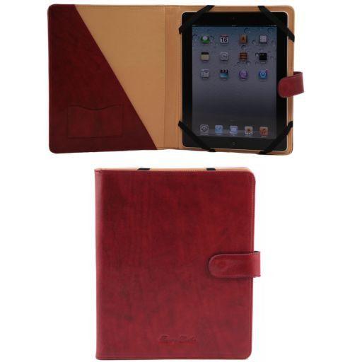 Etui pour iPad en cuir avec bouton pression Rouge TL141170