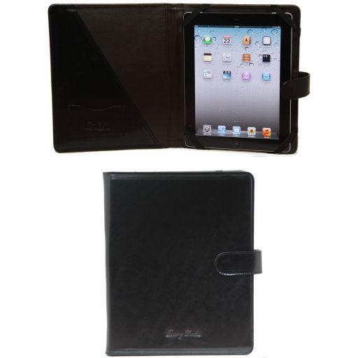 Leder iPad Hülle mit Druckknopf Schwarz TL141170