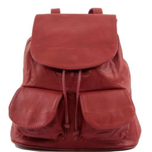Seoul Leather backpack Small size Red TL90143