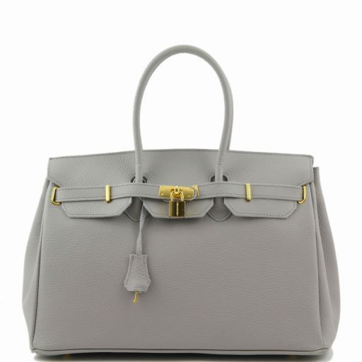 TL Bag Bolso a mano con detalles color oro Light grey TL141174