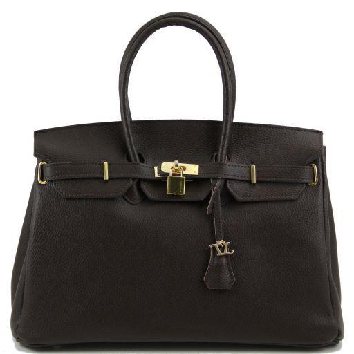 TL Bag Bolso a mano con detalles color oro Marrón oscuro TL141174