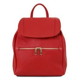 TL Bag Soft leather backpack for women Lipstick Red TL141697