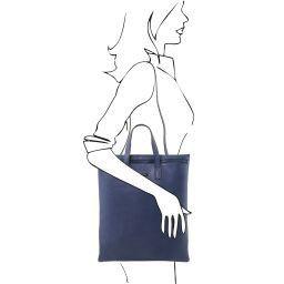 TL Bag Vertical soft leather shoulder bag Dark Blue TL141680