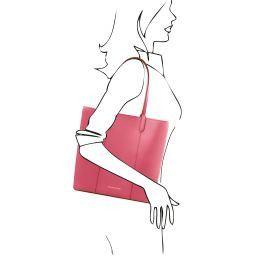 Dafne Leather shopping bag Dusty Rose TL141709