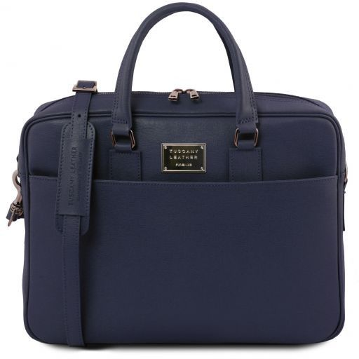 Urbino Saffiano leather laptop briefcase with front pocket Dark Blue TL141627