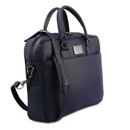 Urbino Cartella porta computer in pelle Saffiano con tasca frontale Blu scuro TL141627