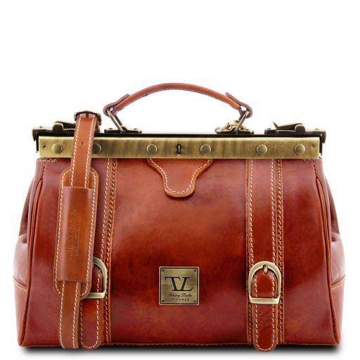 Tuscany Leather Monalisa Doctor gladstone leather bag with front straps Honey