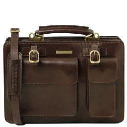 Tania Leather lady handbag - Large size Dark Brown TL141269