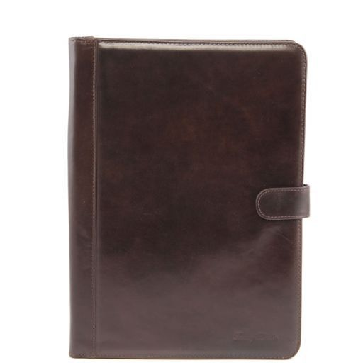 Adriano Leather document case with button closure Dark Brown TL141203