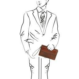 Denis Elegante bolsillo de señor en piel Marrón TL141445