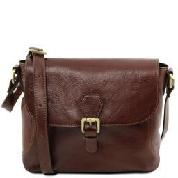 Jody Leather shoulder bag with flap Brown TL141278