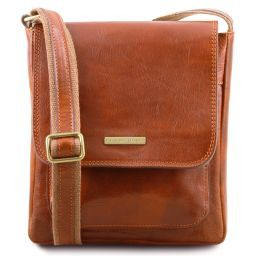 Jimmy Leather crossbody bag for men with front pocket Мед TL141407