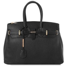 TL Bag Leather handbag with golden hardware Black TL141529