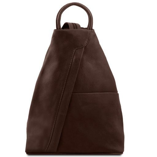 Shanghai Рюкзак из мягкой кожи Темно-коричневый TL140963