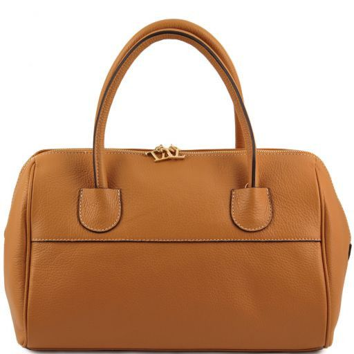 "TL Bag ""Bauletto"" Ledertasche mit goldenen Beschläge Cognac TL141210"