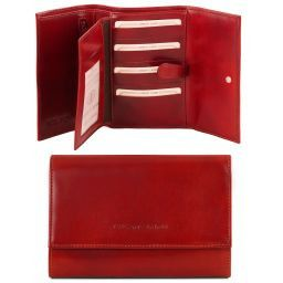 Exclusive 4 fold leather wallet for women Red TL140796