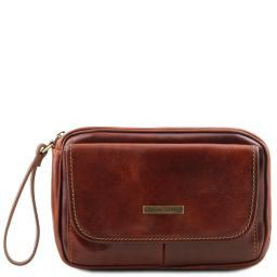 Ivan Leather handy wrist bag for man Brown TL140849