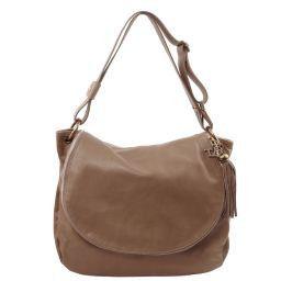 TL Bag Сумка на плечо с кисточкой из мягкой кожи Темный серо-коричневый TL141110