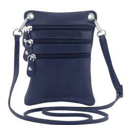 TL Bag Mini Schultertasche aus weichem Leder Dunkelblau TL141368