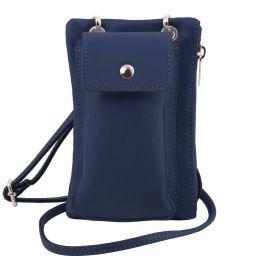 TL Bag Sac bandoulière pour portable en cuir souple Bleu foncé TL141423