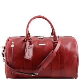 TL Voyager Travel leather duffle bag - Large size Red TL141217