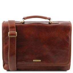 Mantova Leather multi compartment TL SMART briefcase with flap Коричневый TL141450