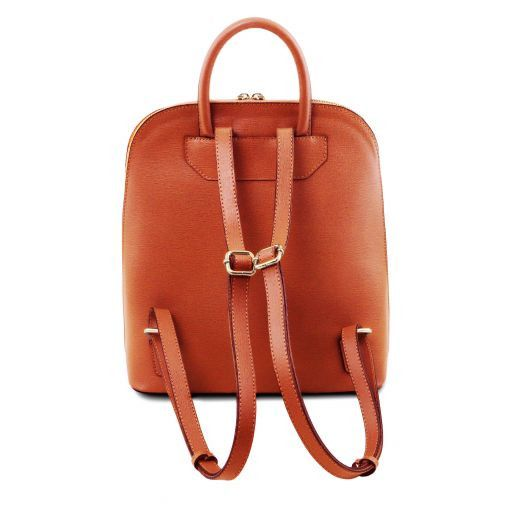 TL Bag Saffiano leather backpack for women Brandy TL141631
