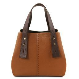 TL Bag Leather shopping bag Cognac TL141730