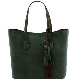 TL Bag Suede leather shopping bag Green TL141639
